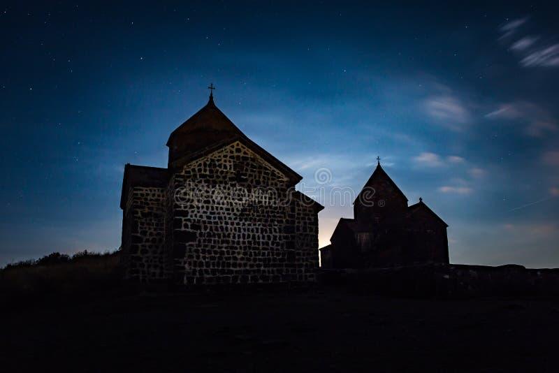 Night shot of Sevanavank Monastery on Lake Sevan, Armenia stock photo