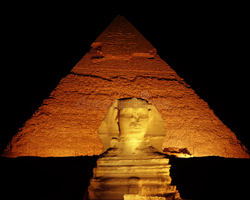 Night Shot of the Sphinx royalty free stock images