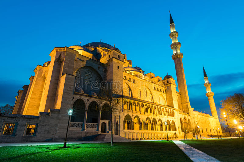 Night shot of Suleymaniye Mosque, an an Ottoman imperial mosque located on the Third Hill of Istanbul, Turkey, and the second larg royalty free stock photography