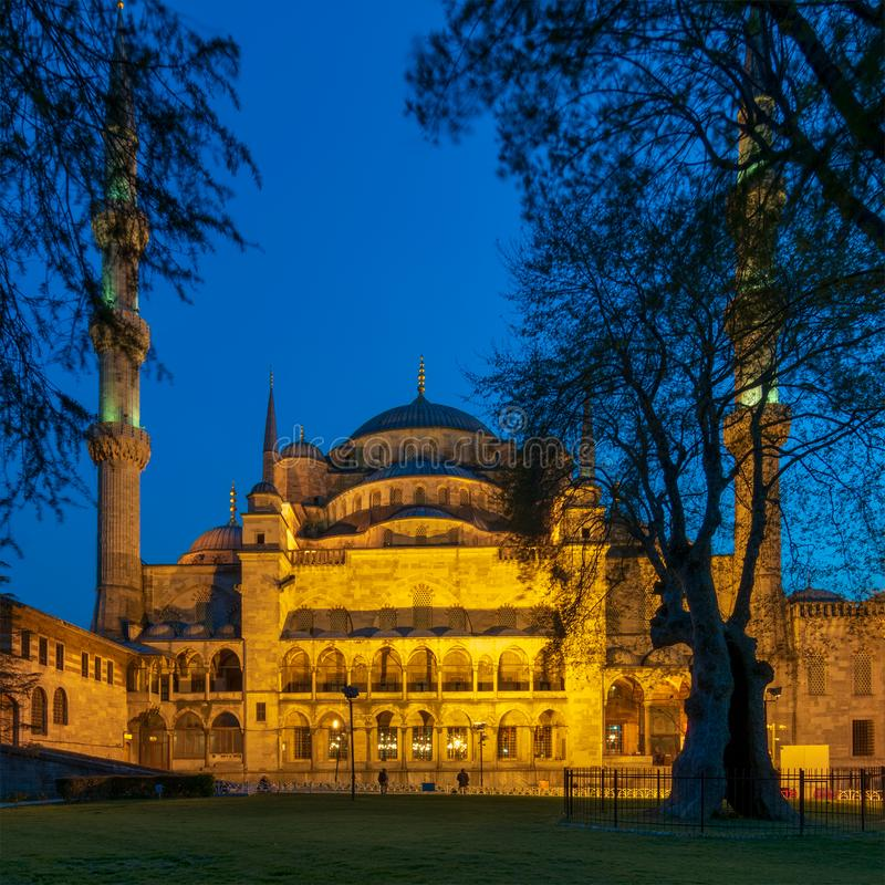 Night shot of Sultan Ahmed Mosque Blue Mosque, Istanbul, Turkey royalty free stock images
