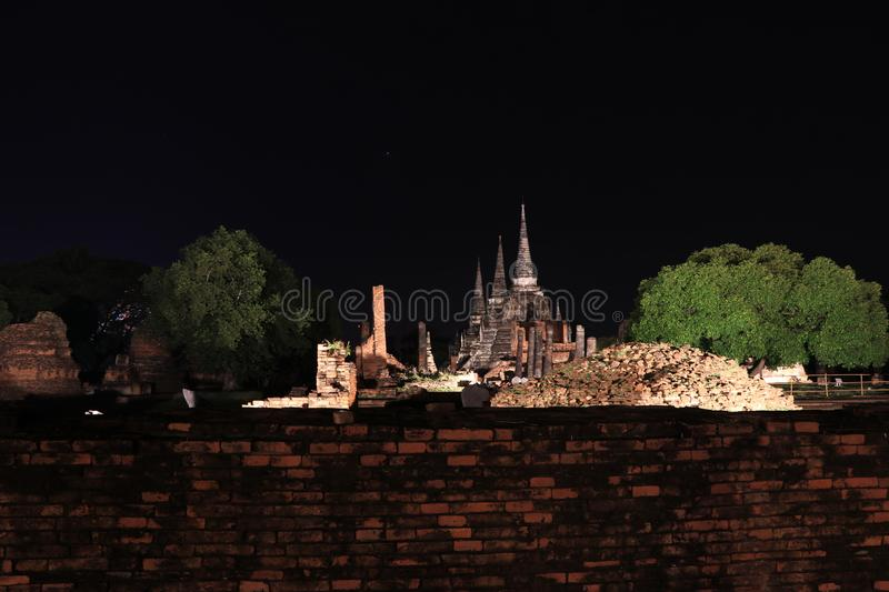 Night shot of the three main pagoda in the ruins of ancient remains at Wat Phra Si Sanphet. Night shot of the three main pagoda in the ruins of ancient remains stock photos
