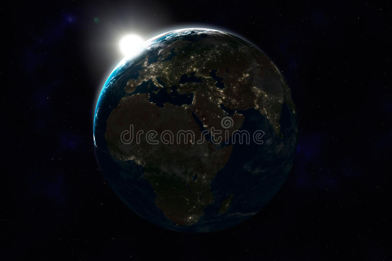 Download Night Side Of Earth, Europe, Africa, Asia Stock Illustration - Image: 16776379