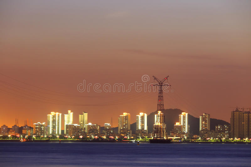 Download Night Sight Of The Electric Tower In The Sea Stock Photo - Image: 34183100