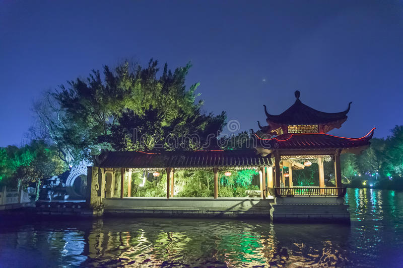 Night sight scenery of Two River and Four Lakes. It is a popular tour spot of Guilin City. Guilin City, Taipei, March, 23th, 2014, night sight scenery of Two royalty free stock photography