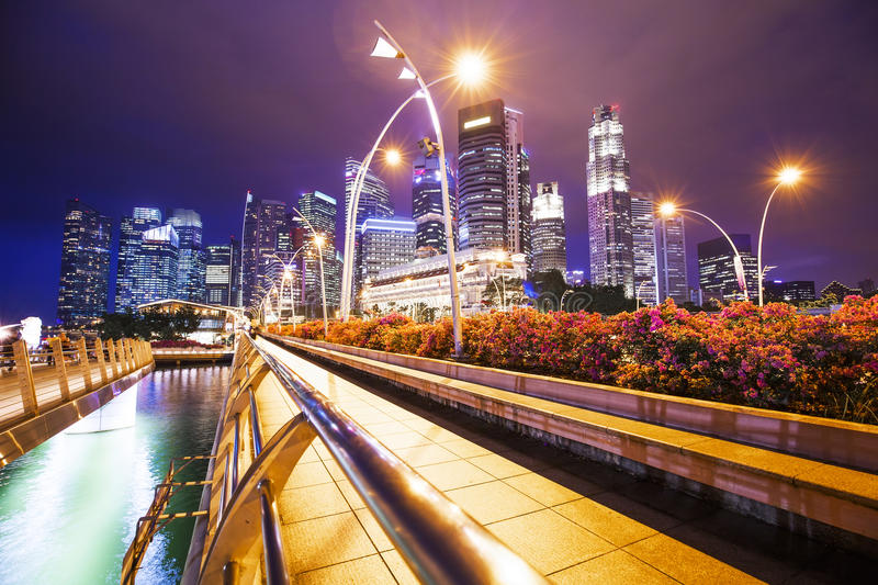 Night Singapore business center royalty free stock images