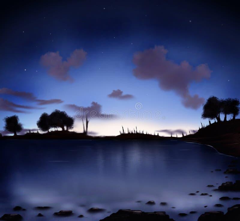 Download Night Sky stock illustration. Image of dark, lake, digital - 3775315