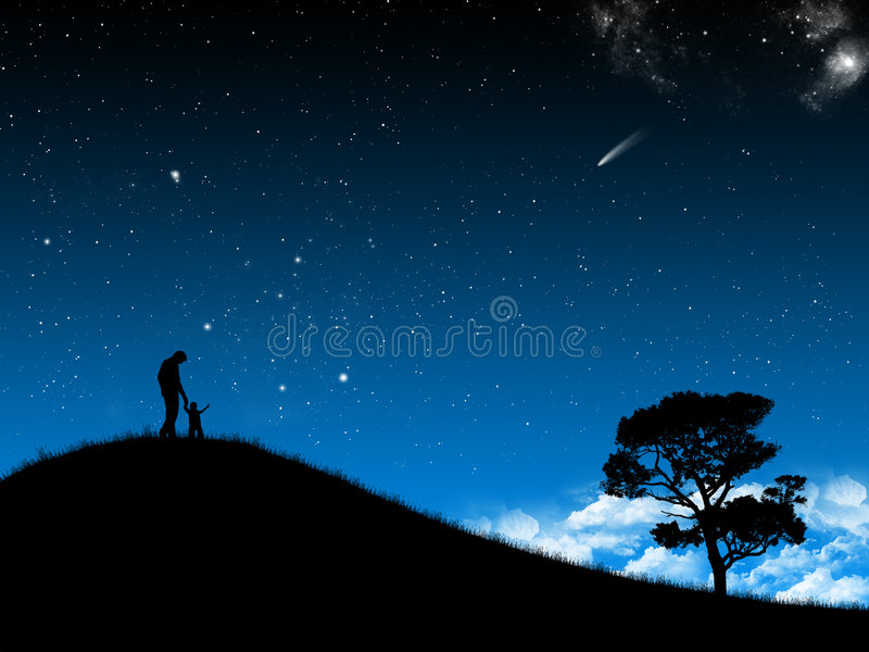Night sky. Wallpaper whit silhouette