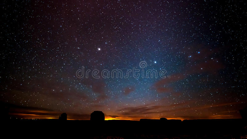 Night sky above Monument Valley. royalty free stock photos
