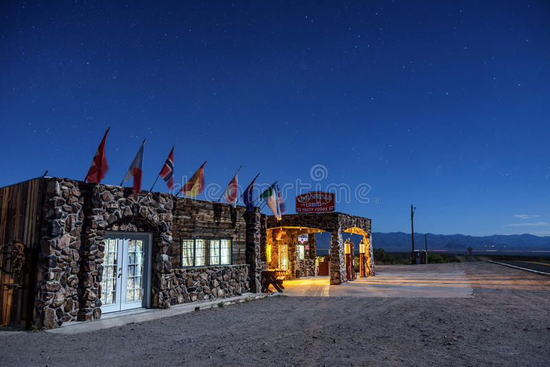 Night sky above rebuilt cool Springs station on historic route 6 royalty free stock image