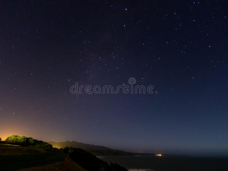 Night Sky from Back Beach, New Plymouth - New Zealand. stock image