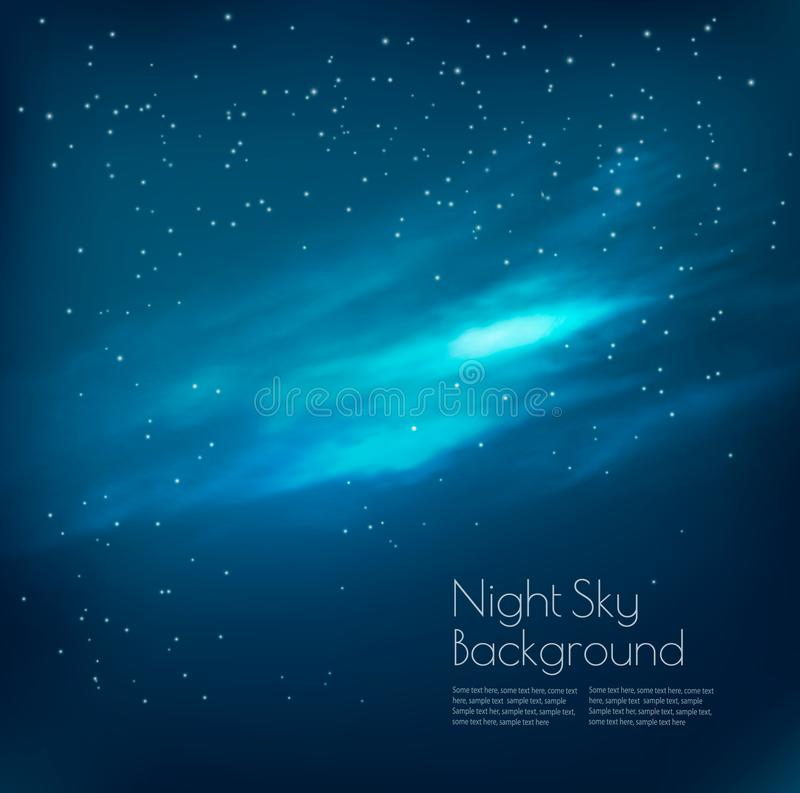Night sky background with clouds and stars. Vector royalty free illustration