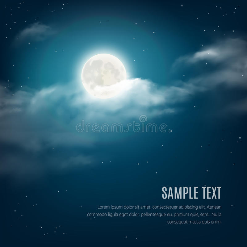 Night sky background, cloudy sky with the shining stars and moon. Vector illustration royalty free illustration