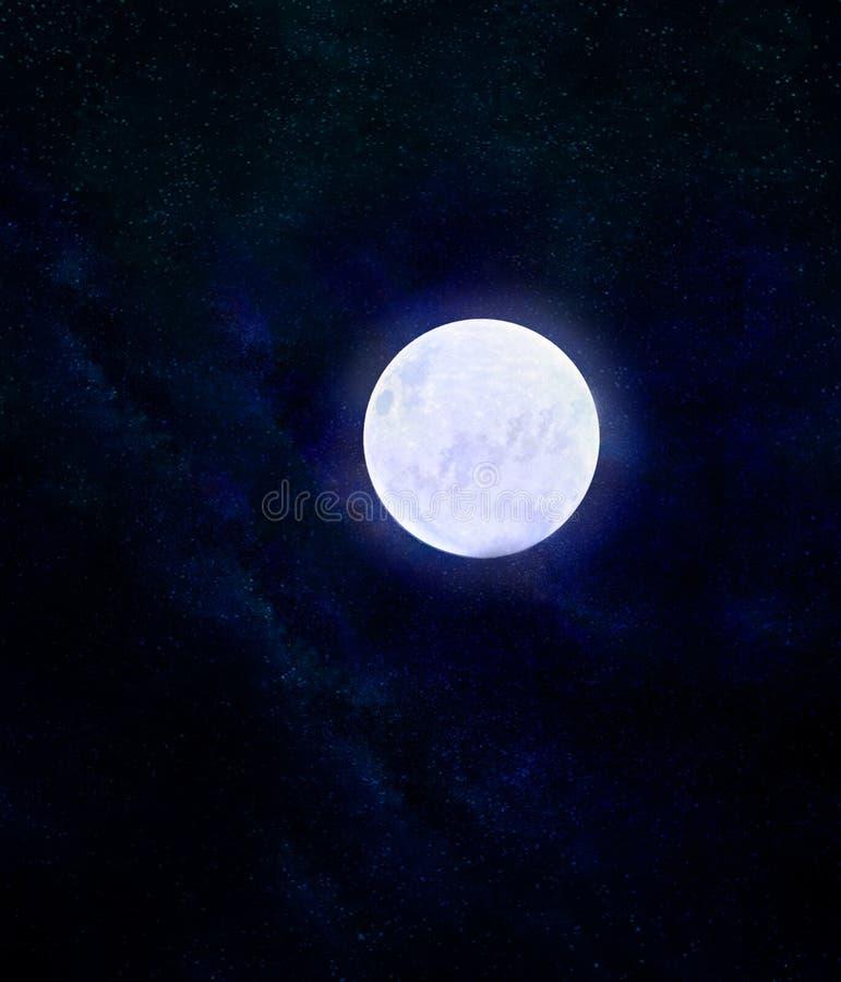 Full moon night sky.Night sky background. Night sky background with full moon stock illustration