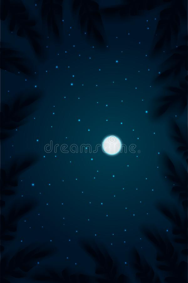 Night sky background. Tops view trees with depth of field moon on sky and star vector illustration