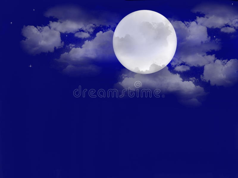 Night sky, Blue moon. Blue moon An illustration of a nightsky with clouds stars and moon on a dreaming midnight blue background stock illustration