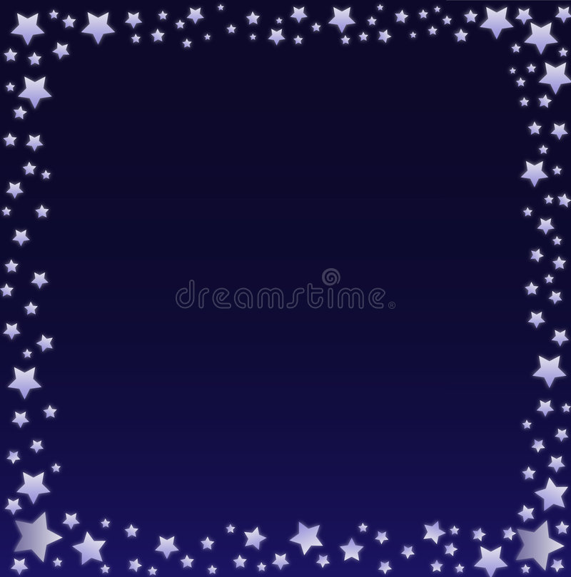 Night Sky Border. Graphic illustration of glowing stars against a blue and black gradient background vector illustration