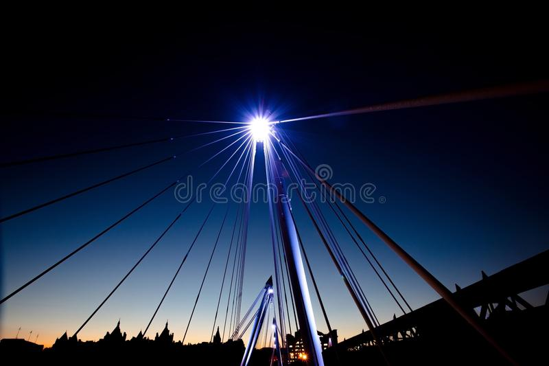 Night sky with bright light. Bridge in London at light with bright light royalty free stock photography
