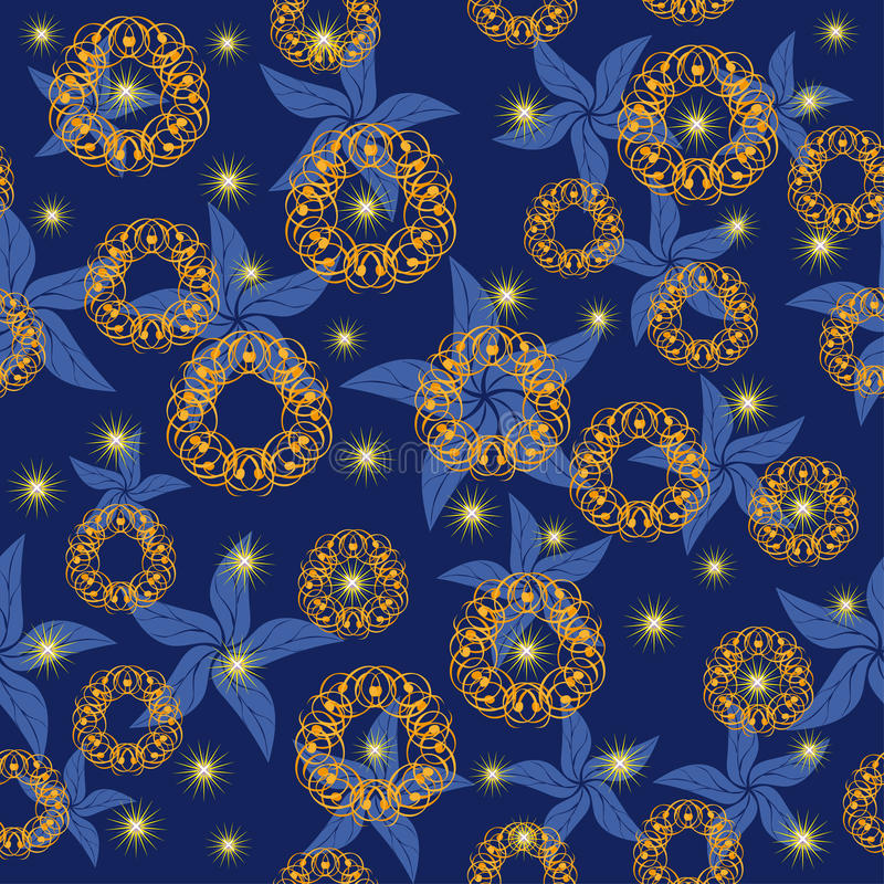 Night sky with bright stars and abstract flowers. Illustration royalty free illustration