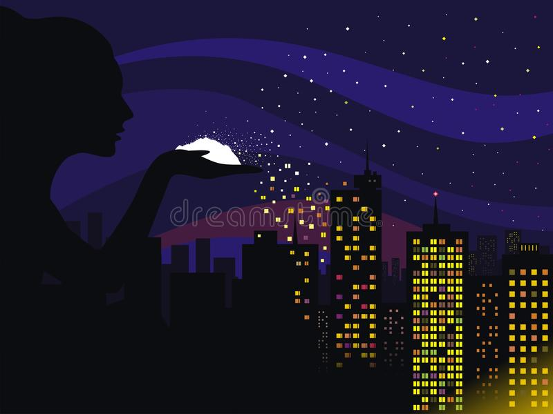 Download Night stock vector. Image of background, hand, blow, vector - 35316667