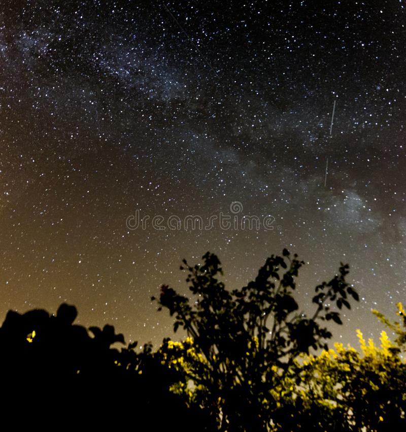 Night sky in Caminha, Portugal royalty free stock image