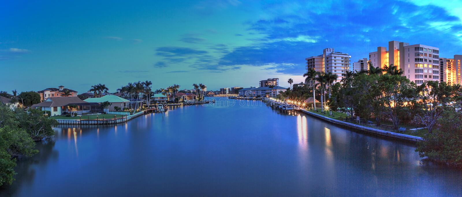 Night sky and clouds over the Vanderbilt Channel river. Near Delnor-Wiggins Pass State Park and Wiggins Pass in Naples, Florida royalty free stock images