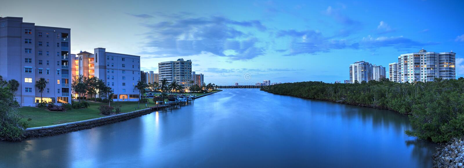 Night sky and clouds over the Vanderbilt Channel river. Near Delnor-Wiggins Pass State Park and Wiggins Pass in Naples, Florida royalty free stock photography