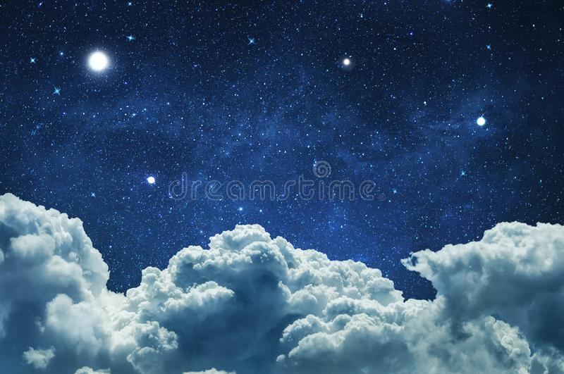 Night sky with clouds and stars. royalty free illustration