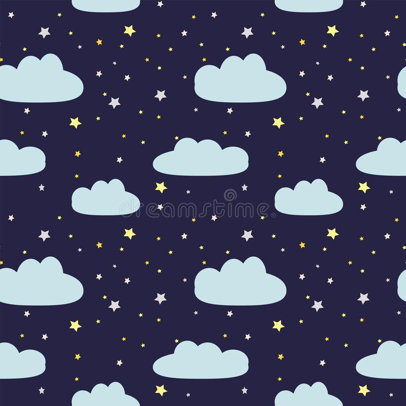 Night sky with clouds and stars royalty free illustration