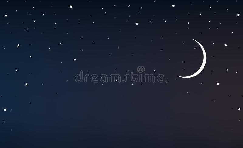 Night sky with a crescent moon and stars. Vector art illustration stock illustration