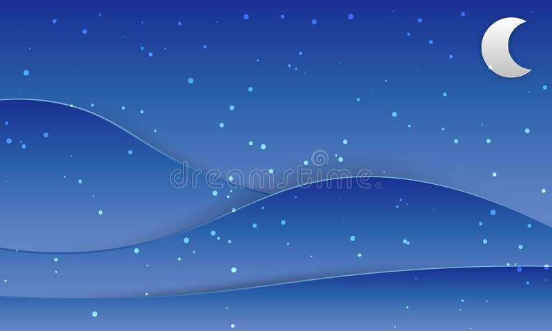 Night sky with a crescent moon and stars. Wallpaper and background vector illustration