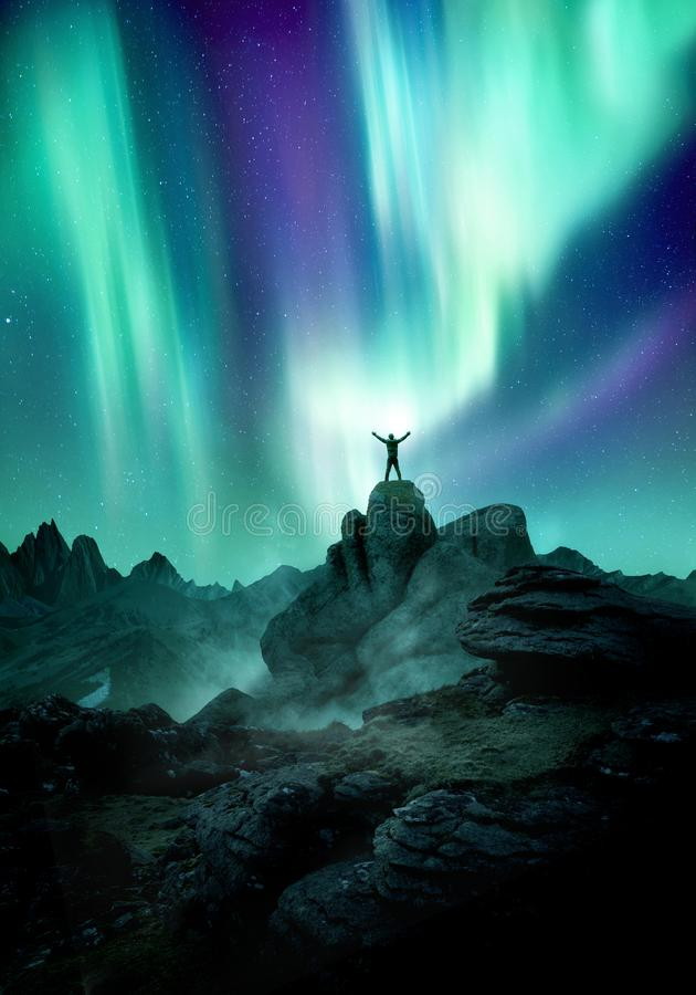 Night Sky Filled With The Aurora Northern Lights stock image