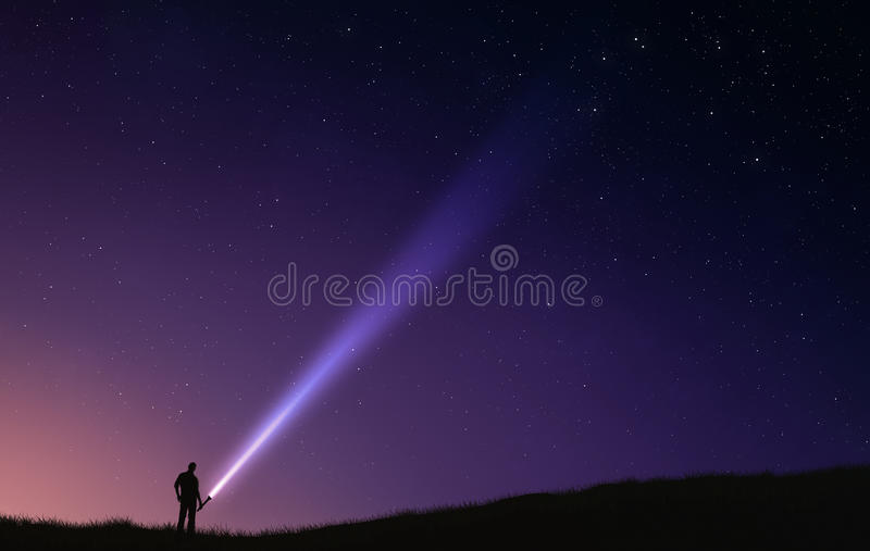 Night sky flash light royalty free stock images