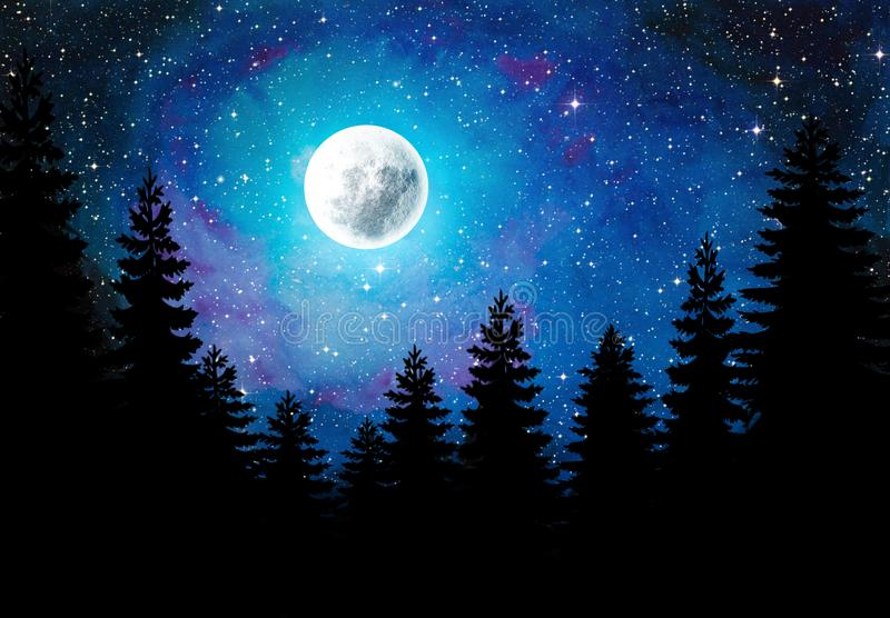Night sky with full moon and stars Water Color and Digital Art. Water color and digital art combination. Night sky with full moon and stars. The silhouette of royalty free illustration