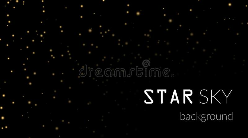 Night sky with gold stars on black background. Dark astronomy space template. Galaxy starry pattern wallpaper. Shiny. Golden stars on night sky universe. Cosmos royalty free illustration