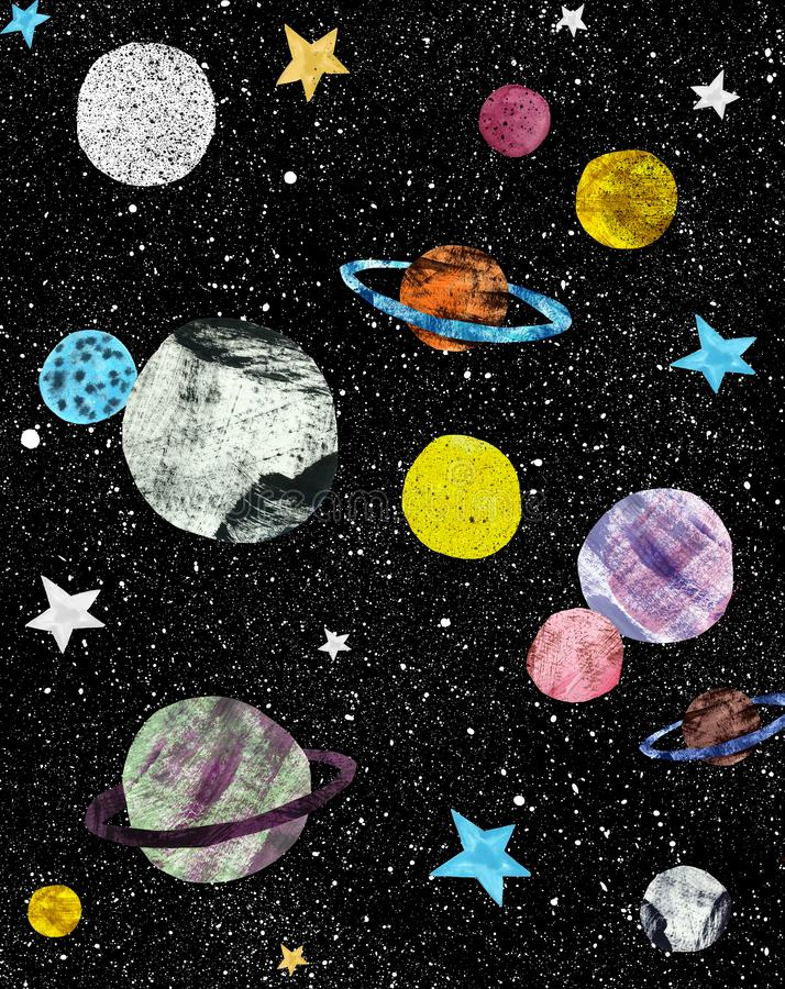 Night sky with hand painted stars and planets. Cosmos and space illustration. hand drawn graphics. Black dark background stock illustration