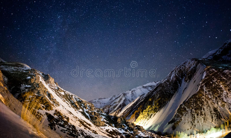 Night sky in Iran mountains. Photo of night sky near Iran resort Dizin royalty free stock photos