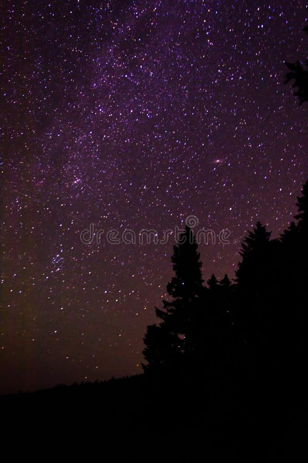 Night sky while kayak camping in Quebec.  royalty free stock images