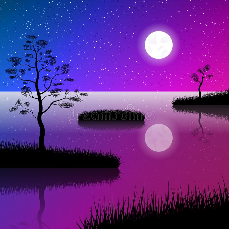 Night sky at lake. Full Moon and stars water reflection. Islands covered with grass and lone trees royalty free illustration