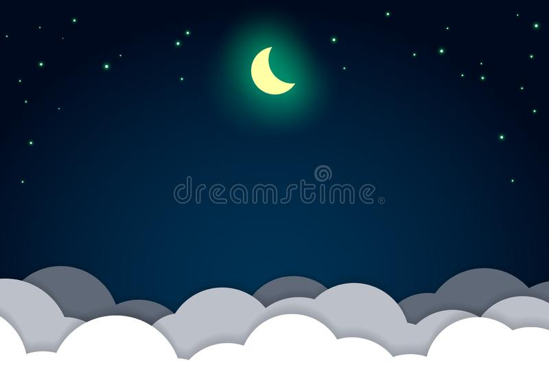 Night sky, light stars and bright moon over the clouds background illustration, copy space composition, paper cut style. stock illustration