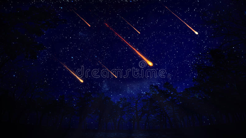 Night sky with a meteor shower vector illustration