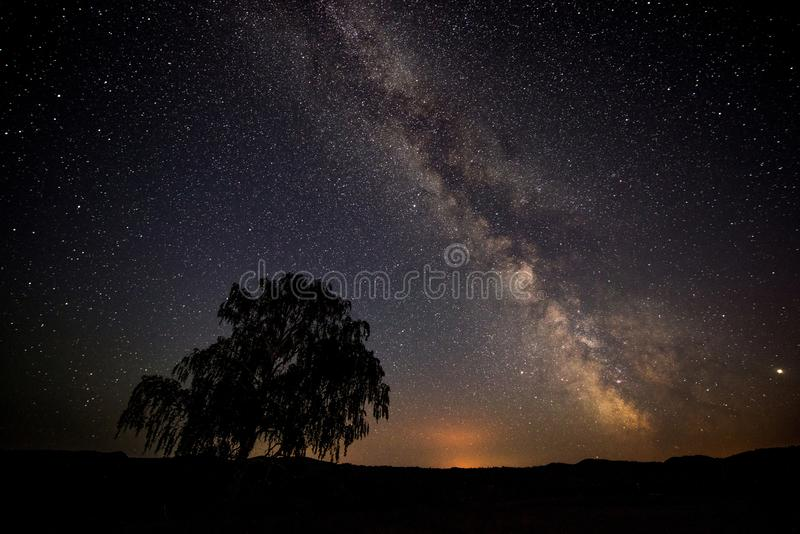 The night sky, the milky Way, a lonely tree standing on a mountain and falling stars stock photo