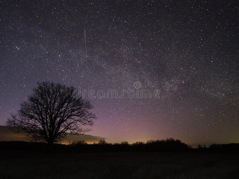 Night sky and milky way reflection royalty free stock images