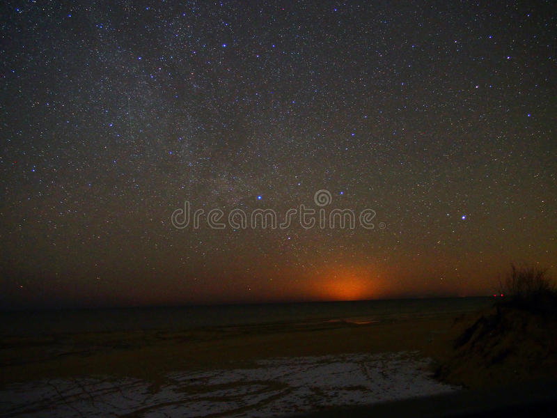 Night sky and milky way stars observation royalty free stock photo