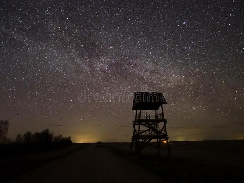 Night sky and milky way stars observing royalty free stock images