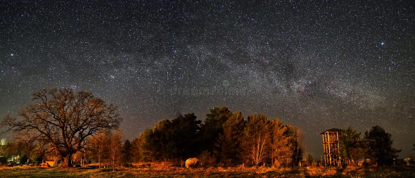 Night sky and milky way stars observing stock images