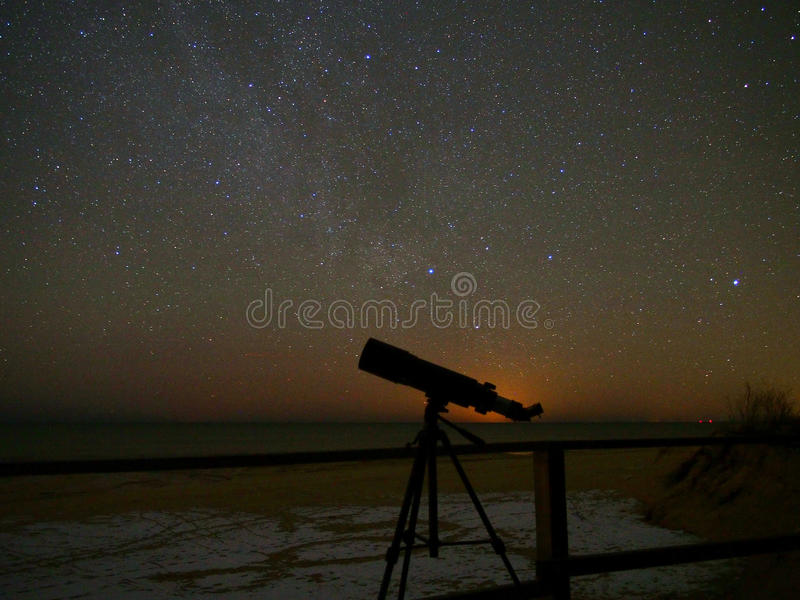 Universe stars observing in telescope. Milky way stars observing over telescope royalty free stock image