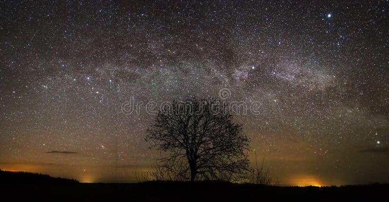 Night sky and milky way stars panorama royalty free stock photography