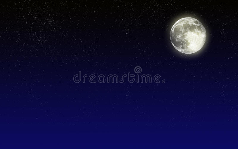 Night sky with moon vector illustration