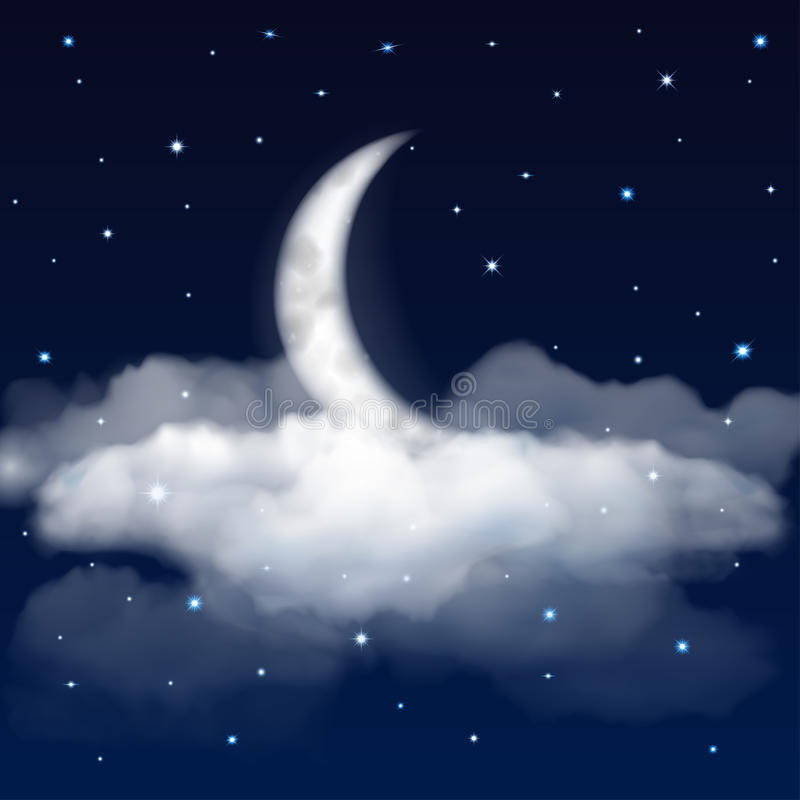 Night sky with moon, stars and clouds royalty free illustration