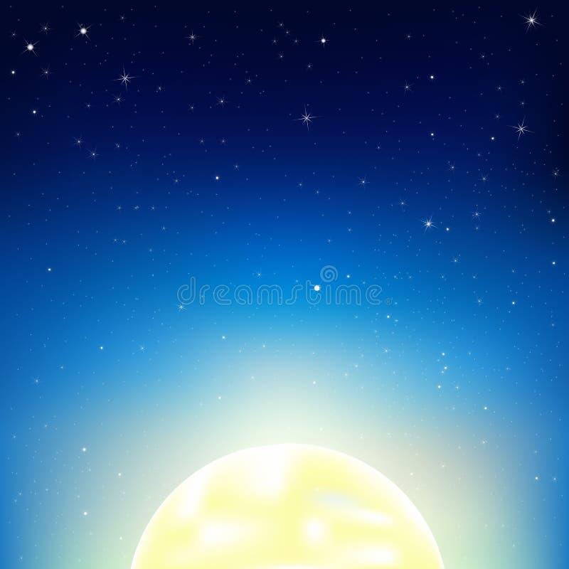 Night Sky With Moon. Vector stock illustration